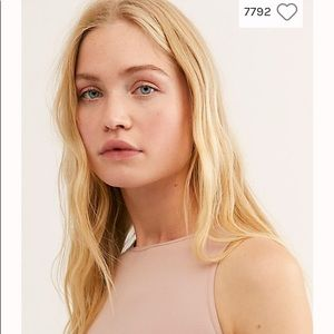 Free People Tops - FREE PEOPLE High Neck Seamless Crop Soft Pink Tank
